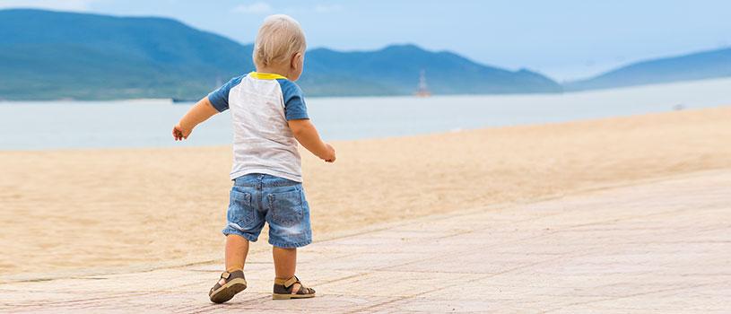 ילד, חוף ים, קיץ, אופק